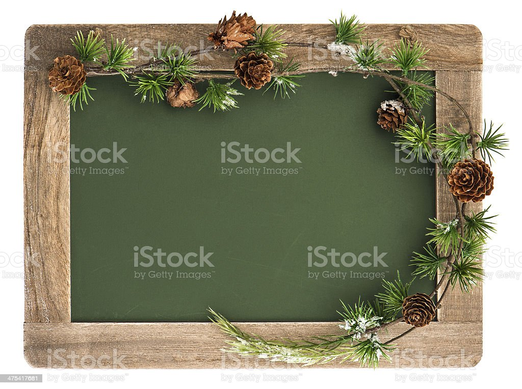 blackboard with wooden frame and christmas decoration stock photo