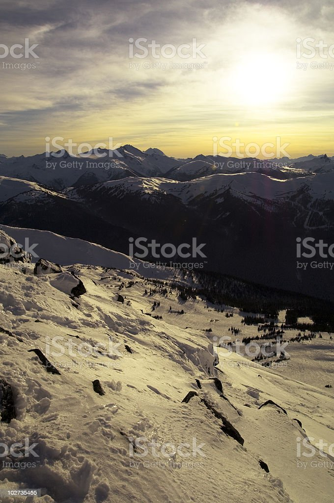 Blackcomb looking over to Whistler stock photo