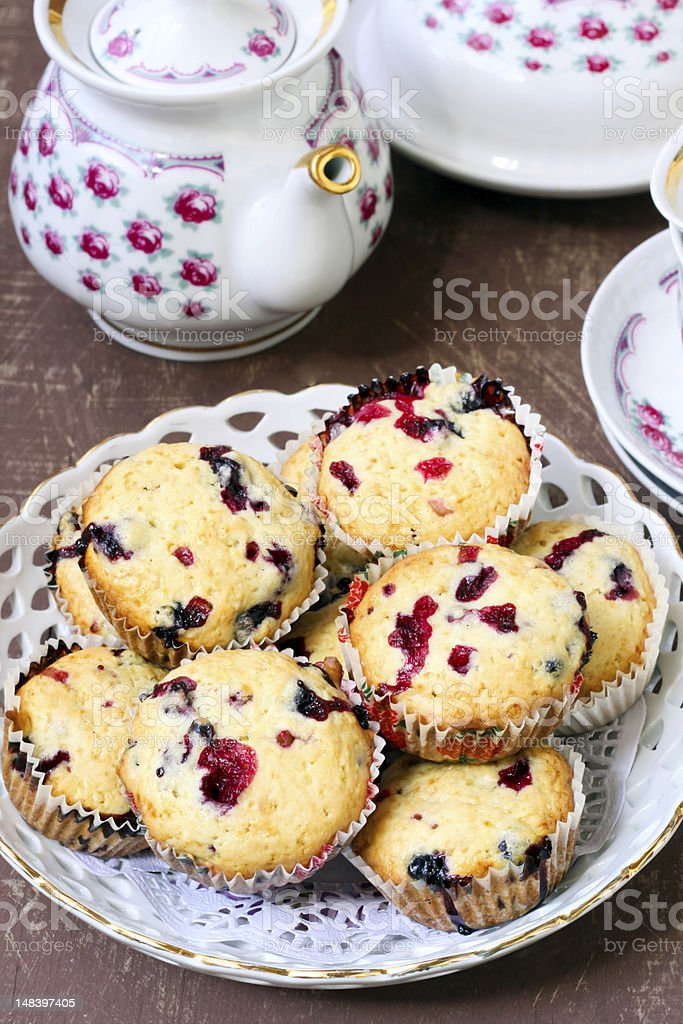 Blackcurrant muffins royalty-free stock photo
