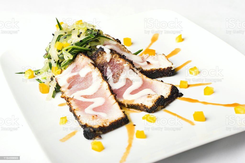 Blackened Albacore Fan Low Angle royalty-free stock photo