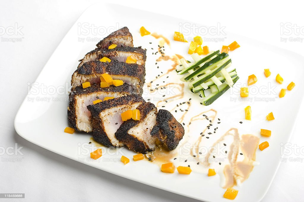 Blackened Albacore (High Angle) stock photo