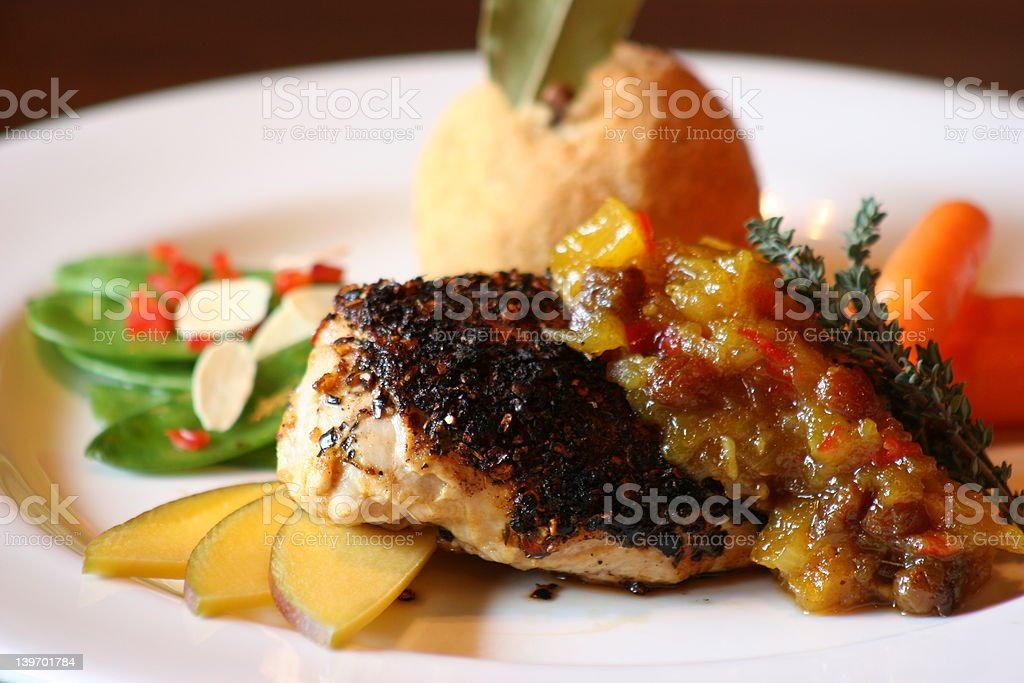 Blackened Chicken with Mango royalty-free stock photo