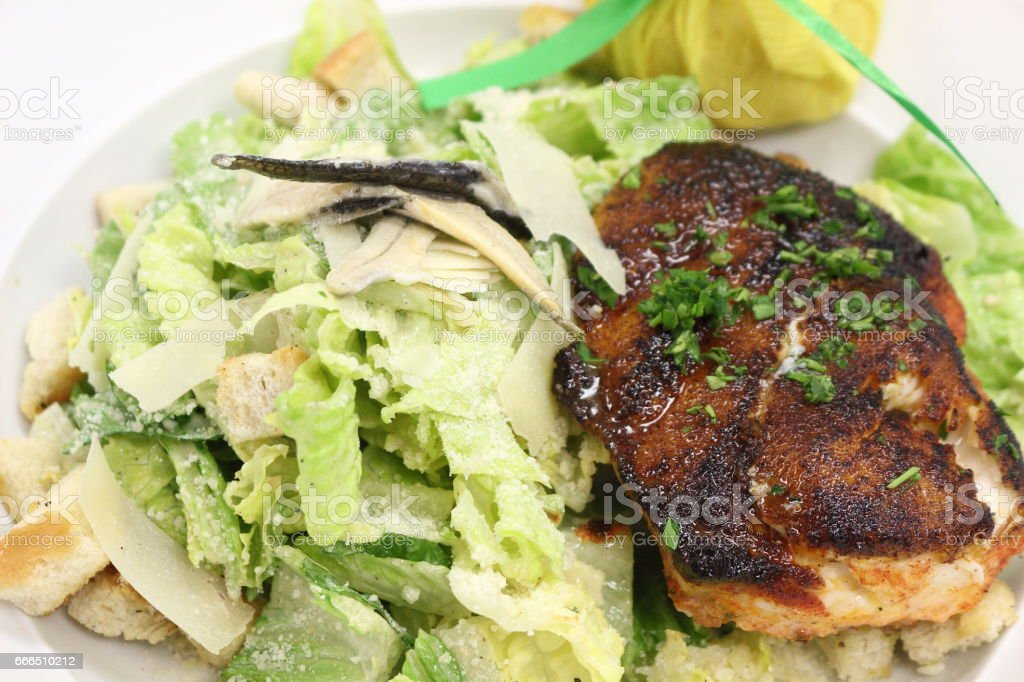 Blackened grouper fish over caesar salad. stock photo