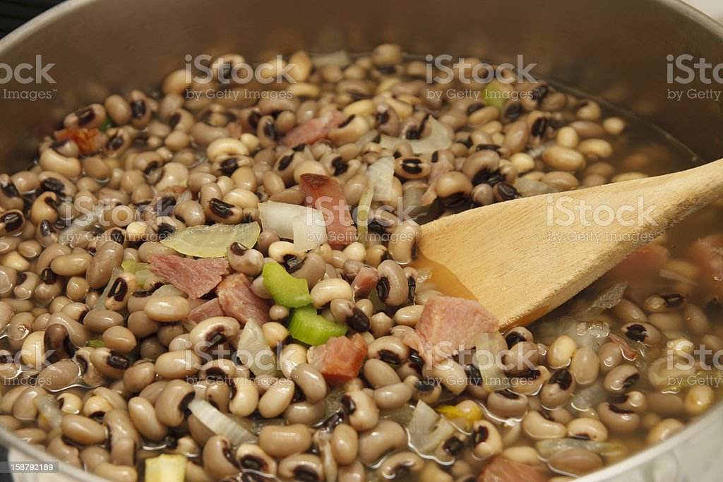 Black-eye Peas with Ham in Pot stock photo