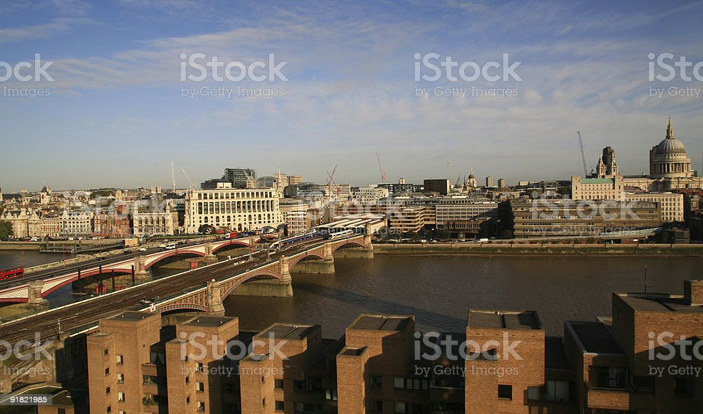Blackfriar's bridge and St Paul's Cathedral in London royalty-free stock photo