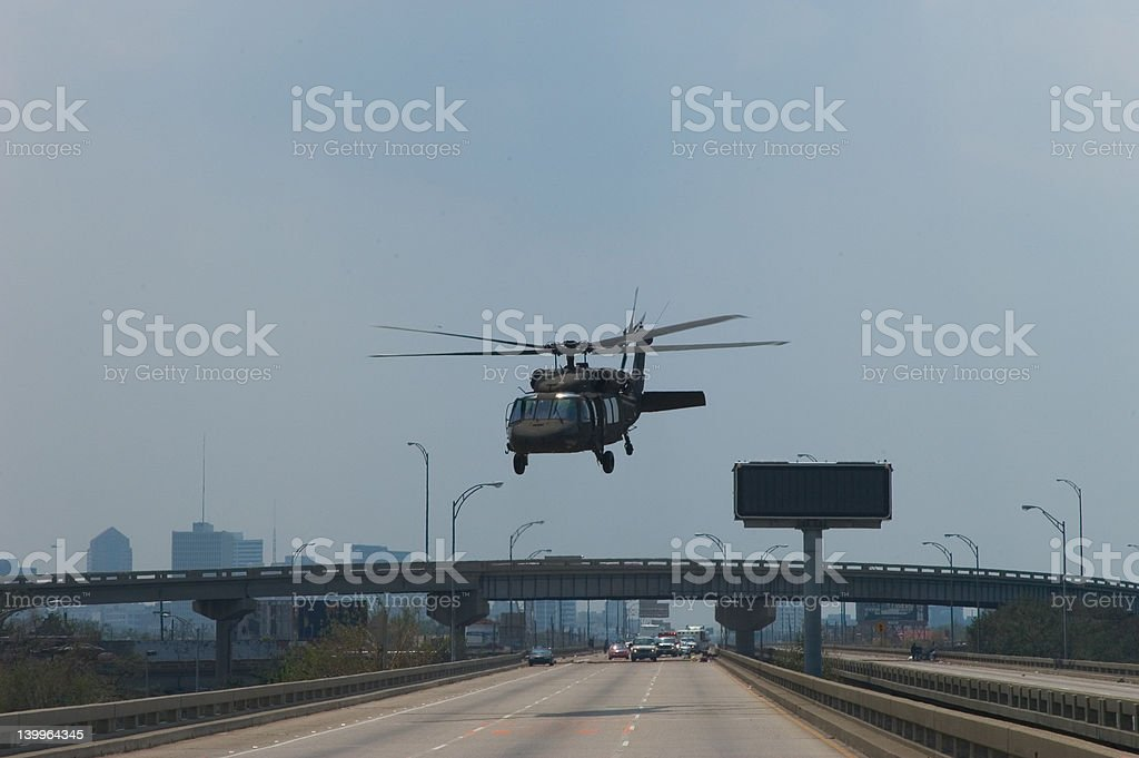Blackhawk rescue copper with Katrina evacuees stock photo