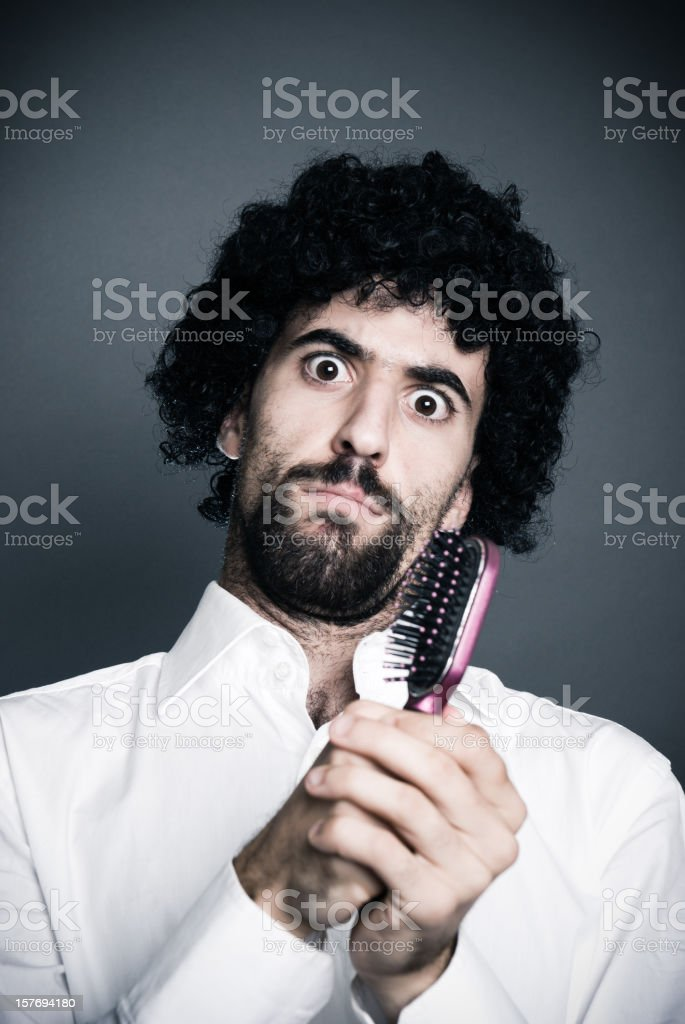 Blackhead Boy have problem with hair and mirror royalty-free stock photo