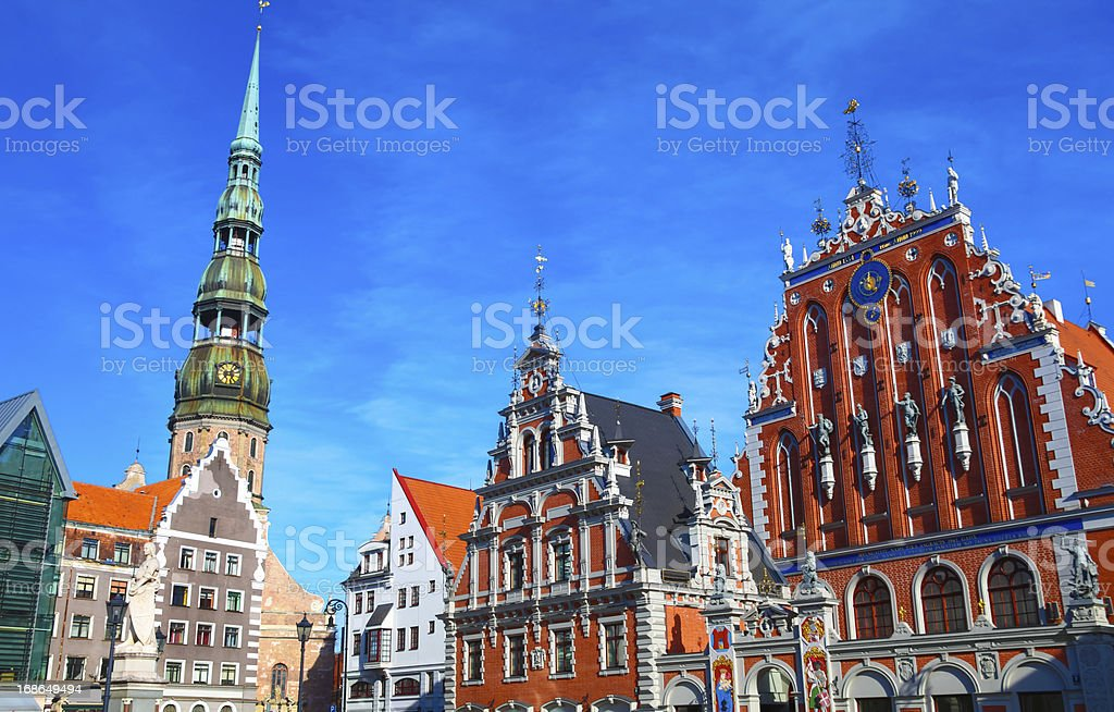 Blackheads house and Saint Peter's church in Riga stock photo