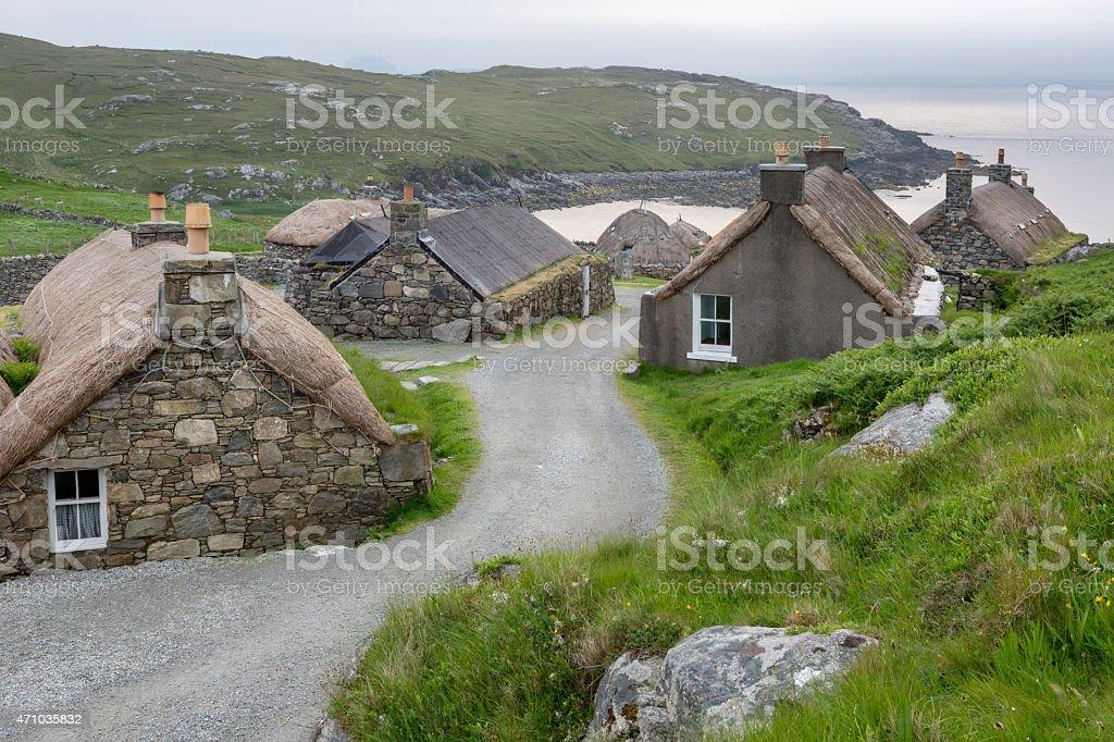 Blackhouse village on Lewis stock photo