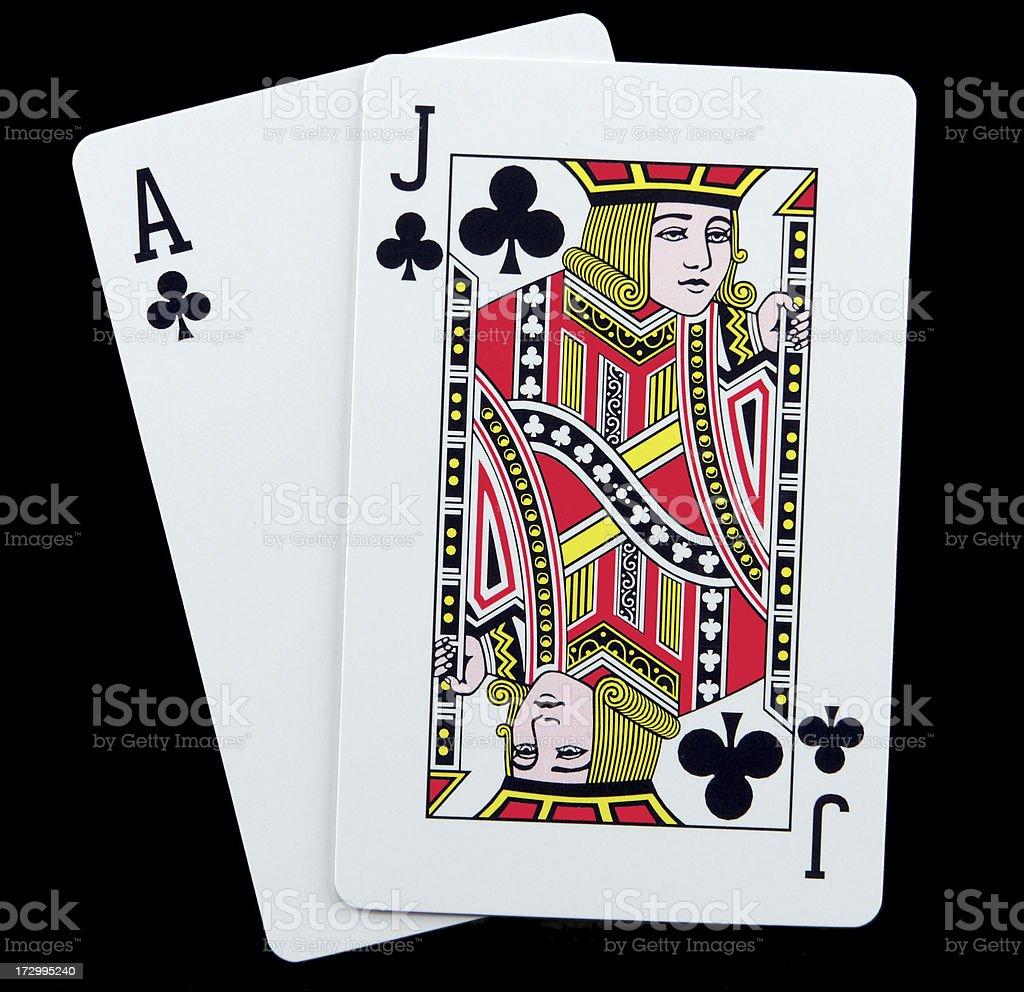 Blackjack Ace with Jack royalty-free stock photo