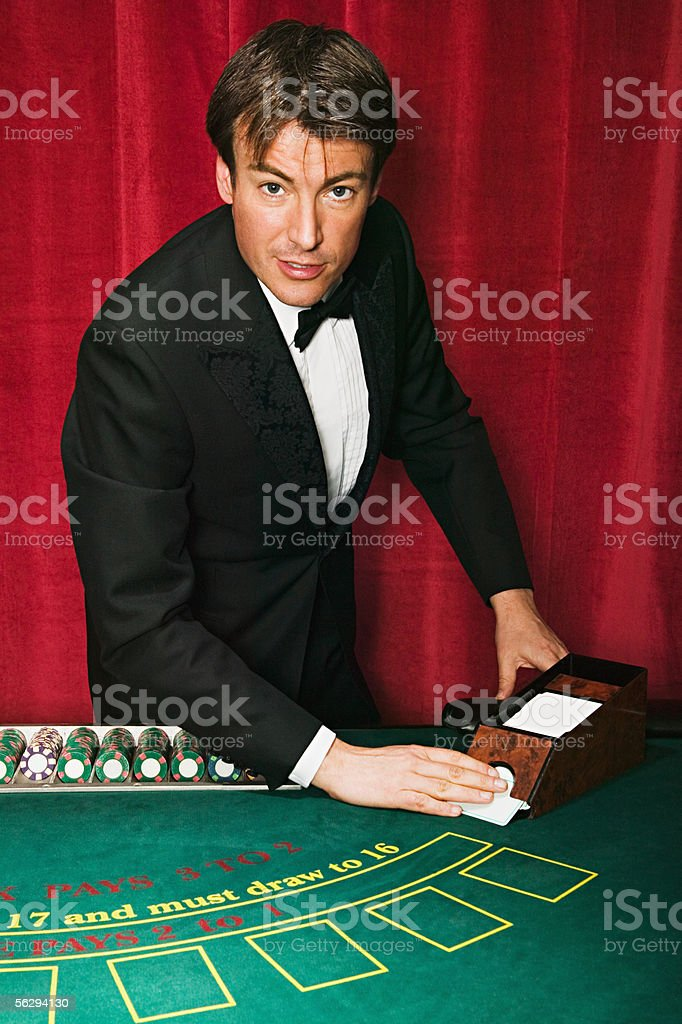 Blackjack dealer stock photo