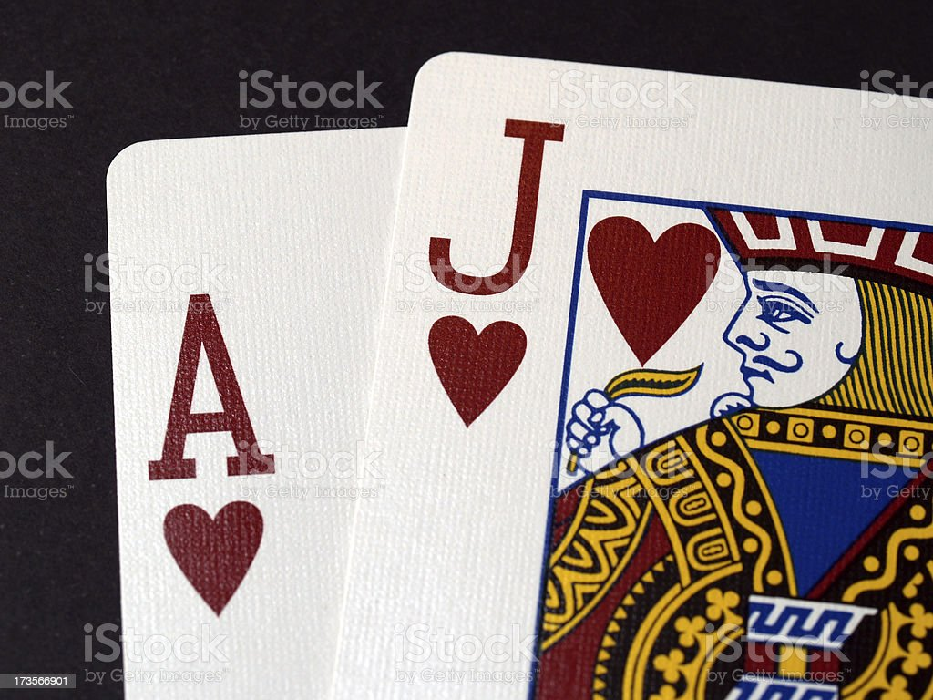 Blackjack isolated on black (ACE and J) royalty-free stock photo
