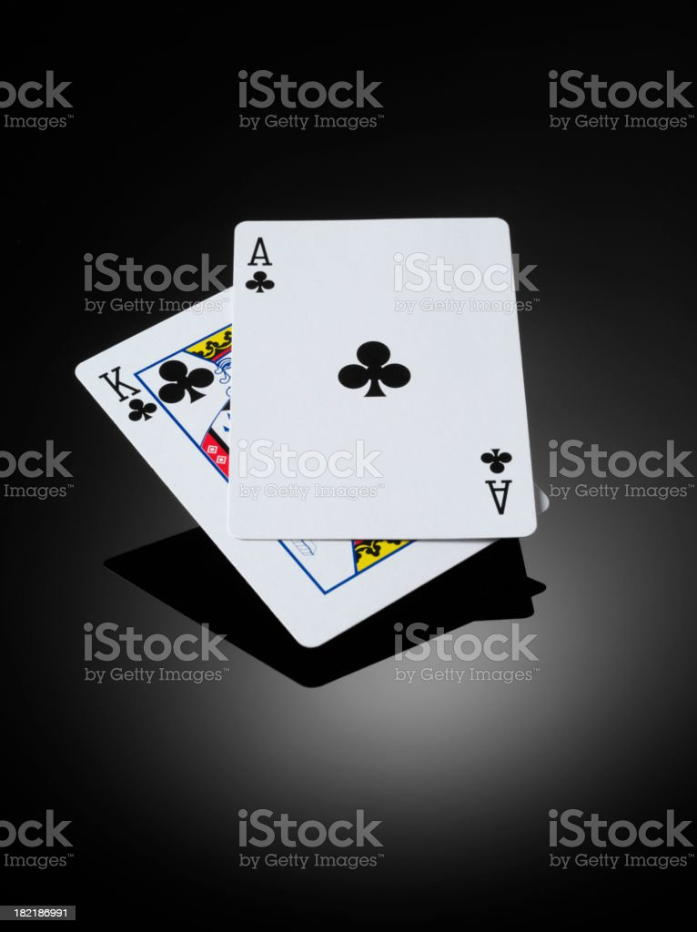Blackjack, King and Ace in Cards royalty-free stock photo