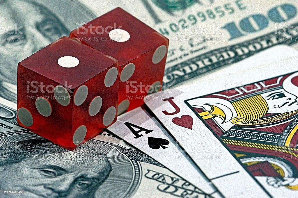 Blackjack Snake eyes and Cash stock photo