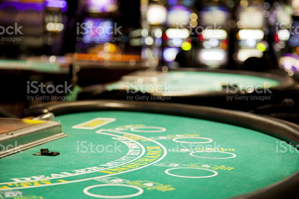 Blackjack table stock photo