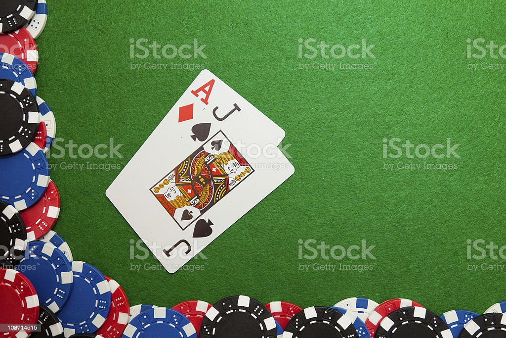 Blackjack winning hand stock photo