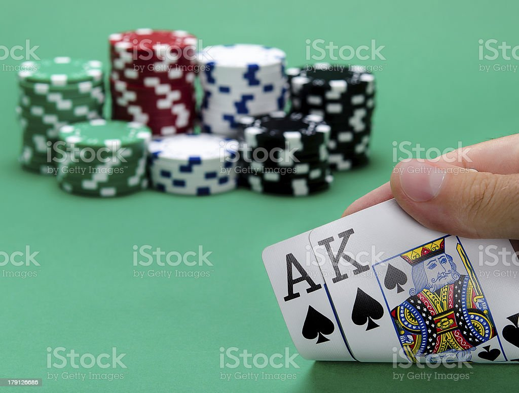 Blackjack with King and Ace of Spades stock photo
