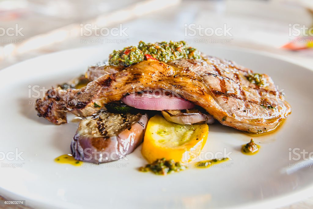 Blackpepper grilled pork chop & vegetables stock photo