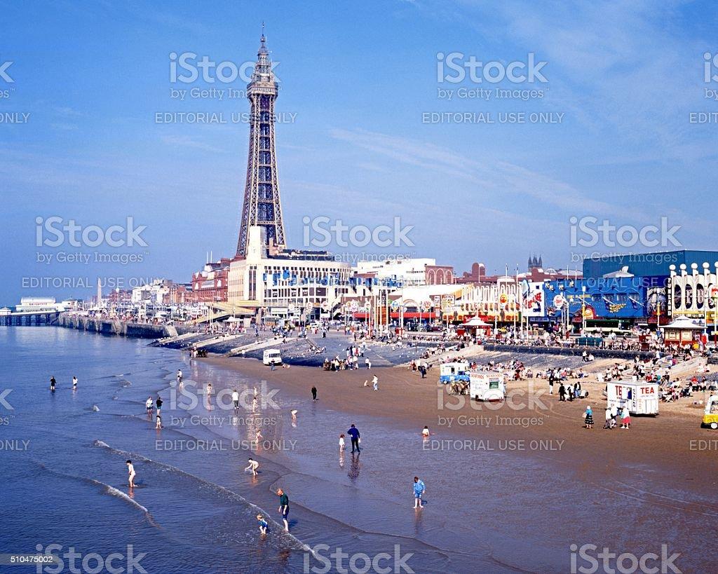 Blackpool beach and tower. stock photo