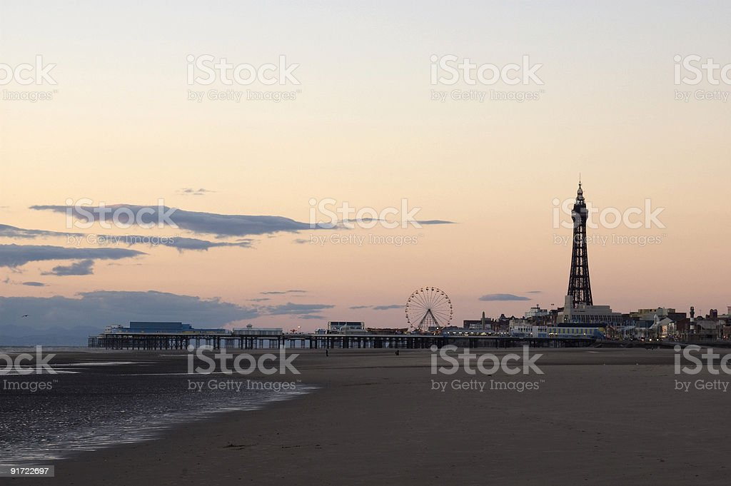 Blackpool Beach and Tower stock photo
