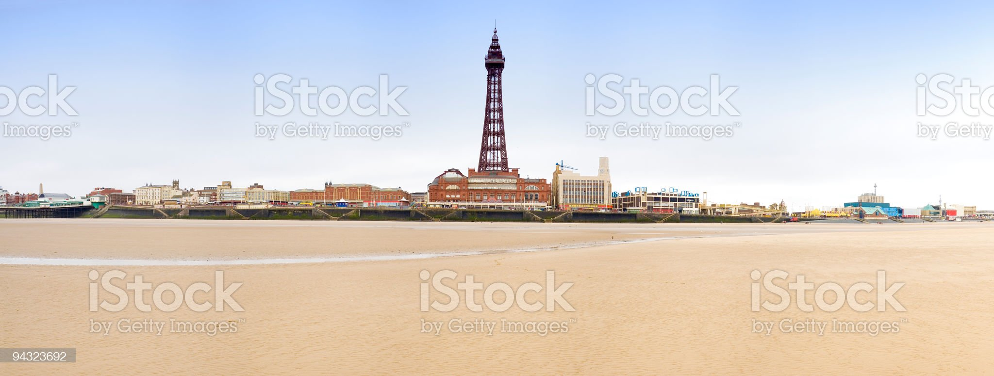 Blackpool beach and tower royalty-free stock photo