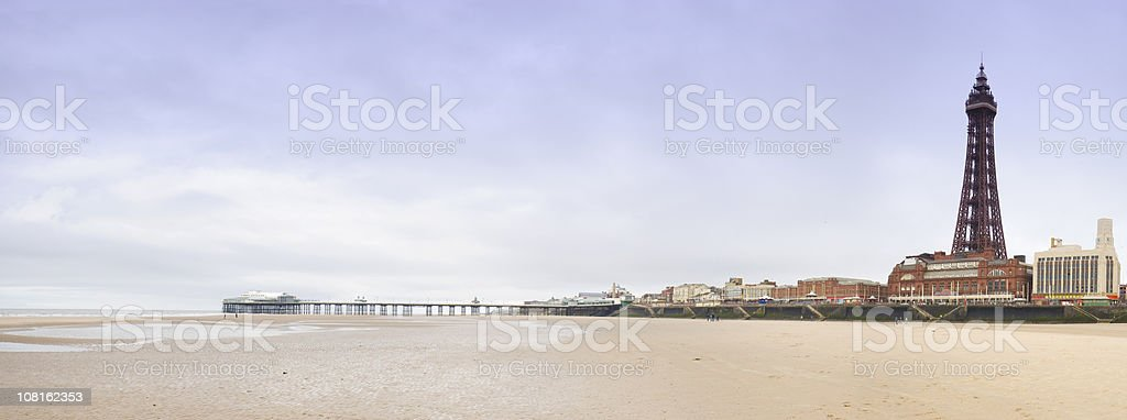 Blackpool Beach with Tower royalty-free stock photo