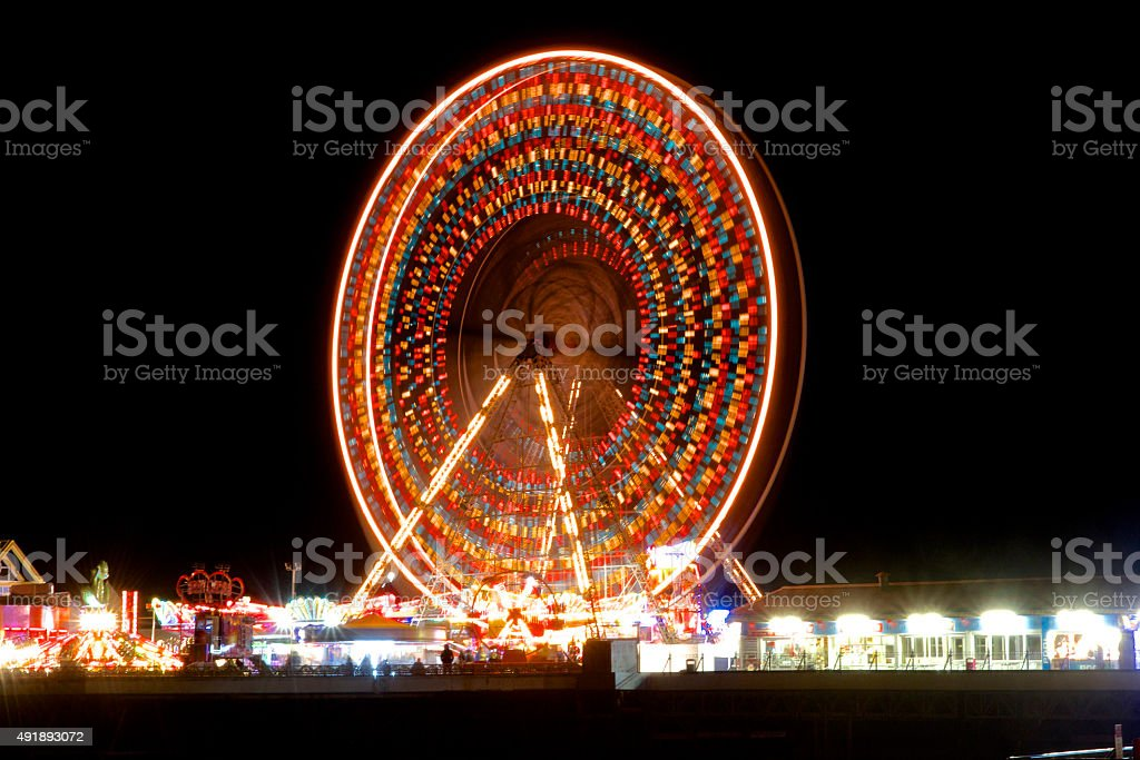 Blackpool Central Pier Wheel At Night stock photo