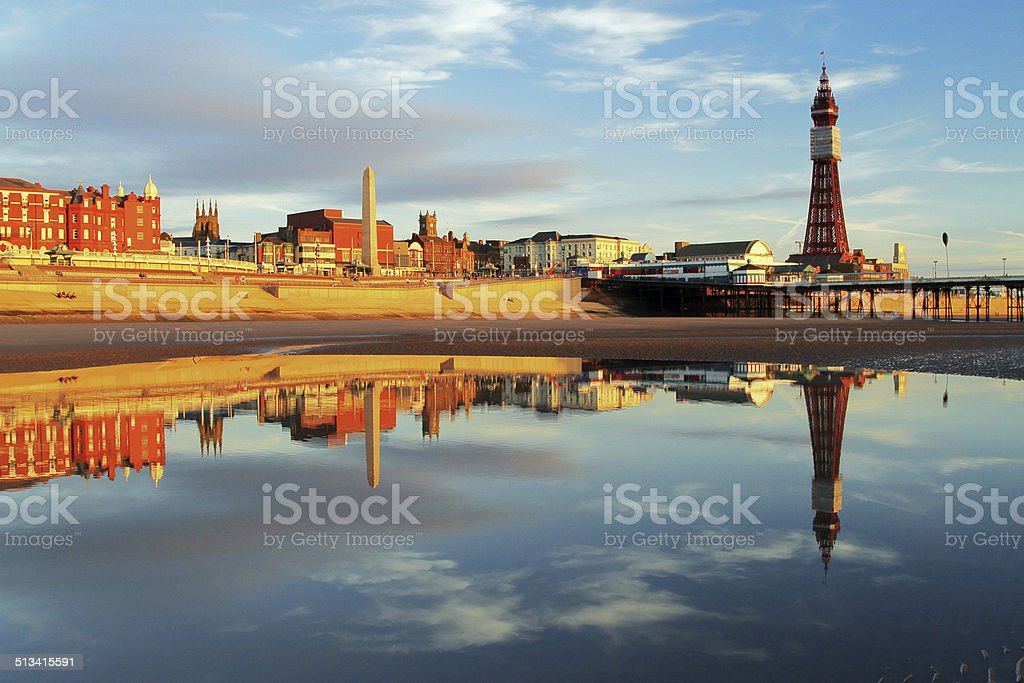 Blackpool North Pier Reflection stock photo