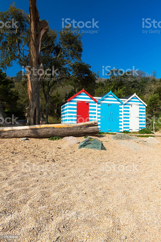 Blackpool Sands Beach Huts stock photo