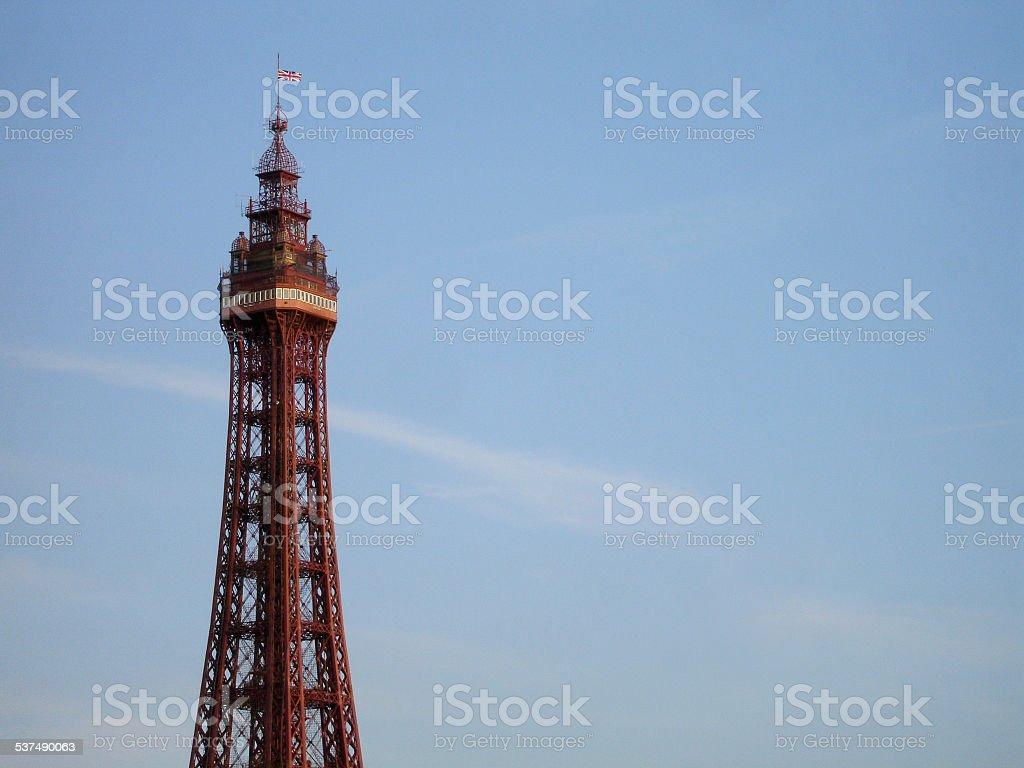 Blackpool Tower against blue sky stock photo