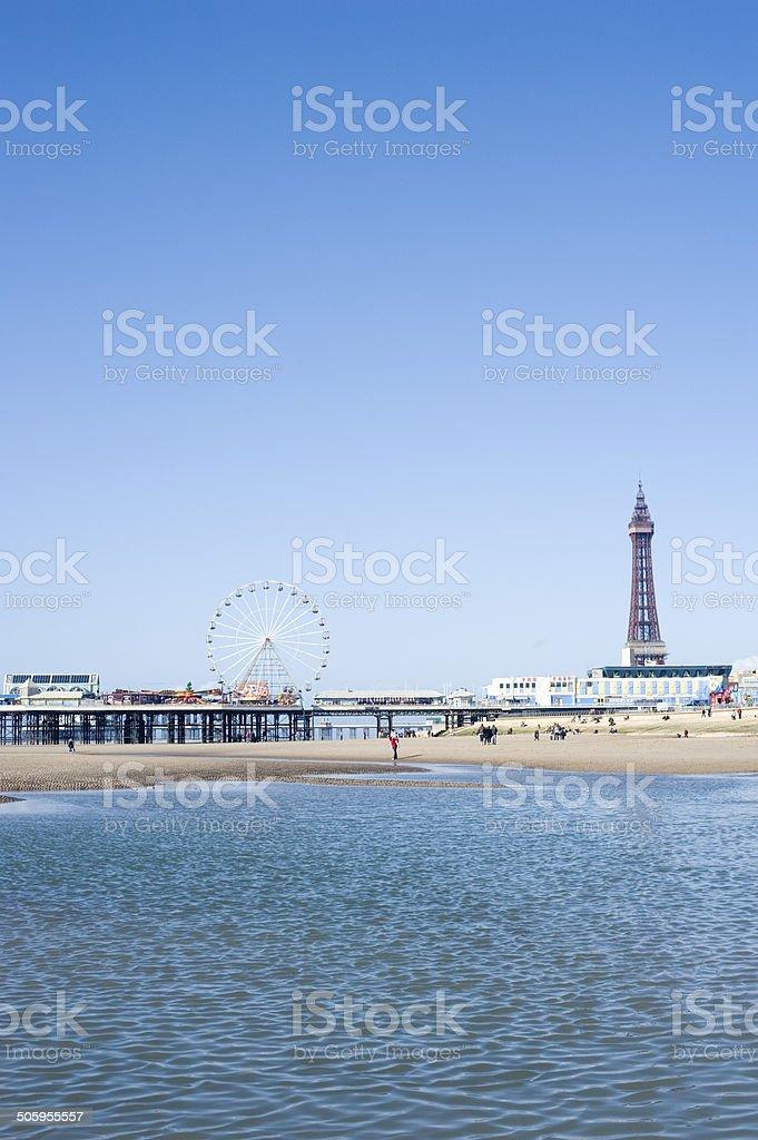 Blackpool Tower and piers, Blackpool, England stock photo