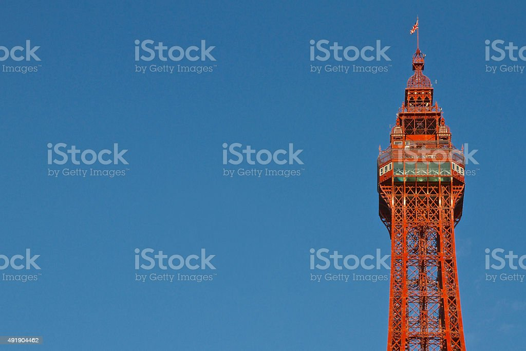 Blackpool Tower Close-Up and Blue Sky stock photo