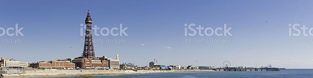 Blackpool Tower piers Pleasure Beach seaside holiday resort panorama UK royalty-free stock photo