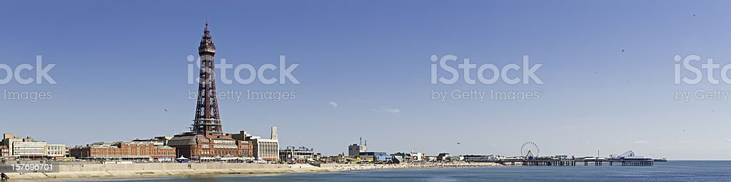 Blackpool Tower piers Pleasure Beach seaside holiday resort panorama UK stock photo