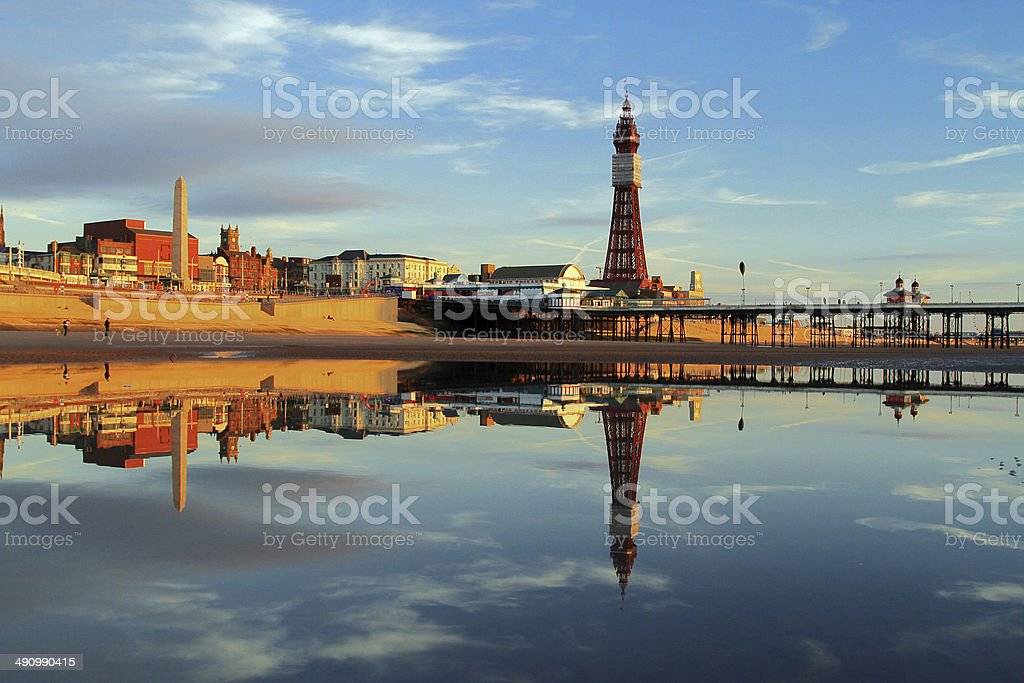 Blackpool Tower Reflection stock photo