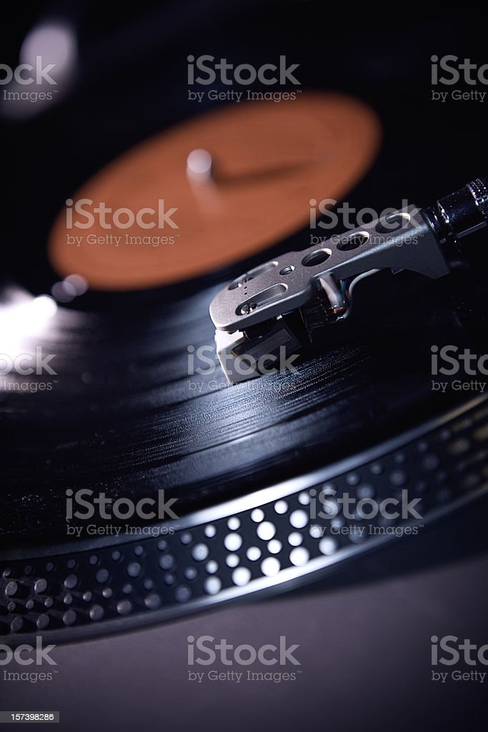 Black/Red Spinning Record Arm and Needle stock photo