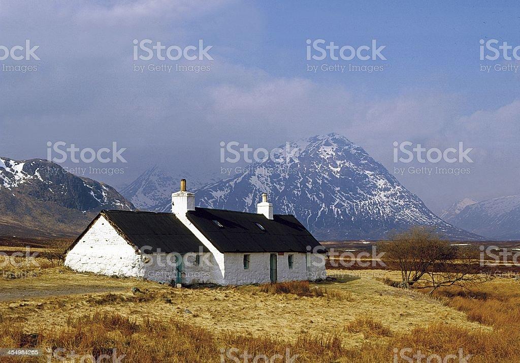 Blackrock Cottage and Buchaille Etive Mor, Glencoe, Argyll stock photo