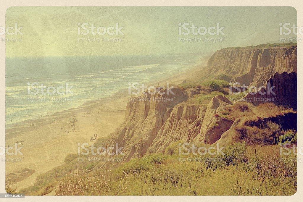 Black's Beach, Torrey Pines State Park - Vintage Postcard stock photo