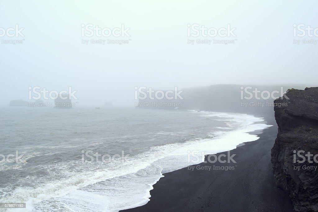 Black-sand beach stock photo