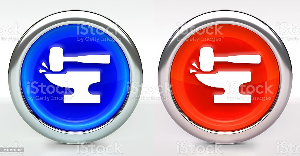 Blacksmith Anvil  Lump Hammer Icon on Button with Metallic Rim stock photo