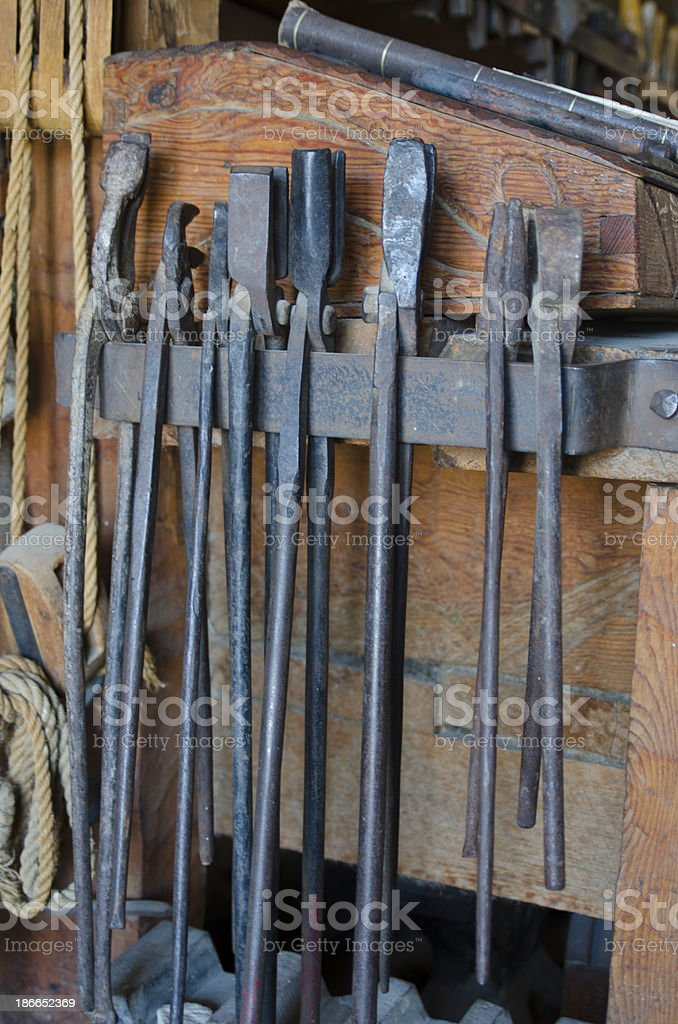 Blacksmith Tools at Bent's Old Fort National Historic Site stock photo