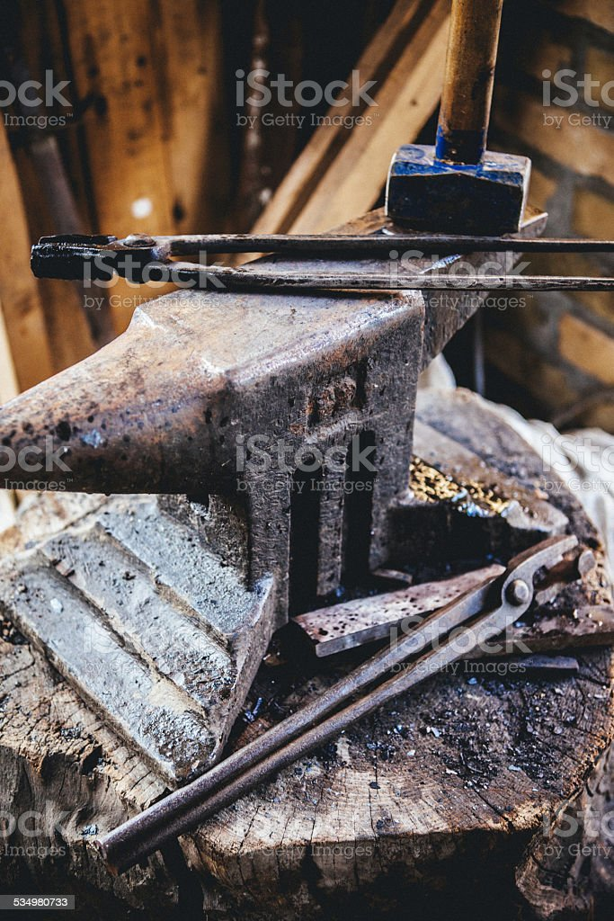 Blacksmith Tools on anvil stock photo