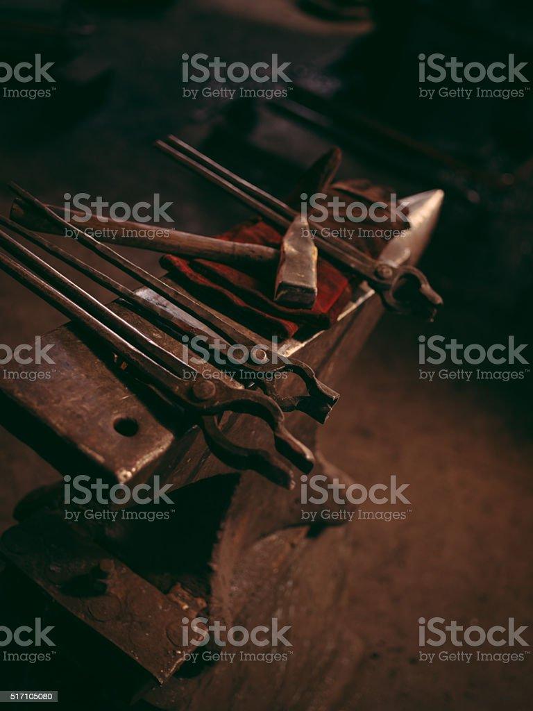 Blacksmith working tools stock photo