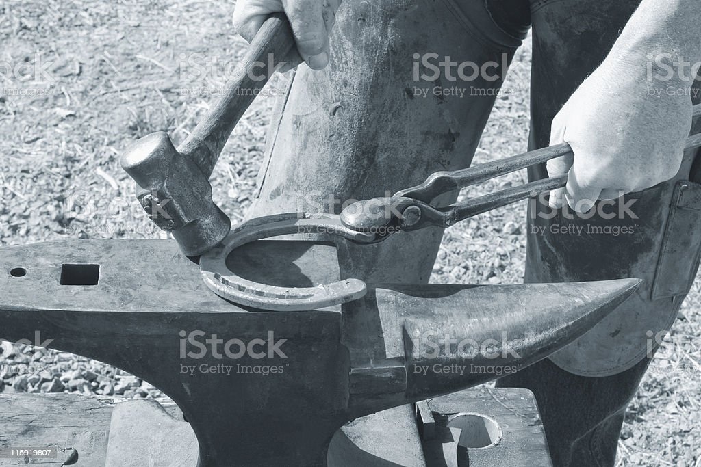 Blacksmithing Duotone royalty-free stock photo