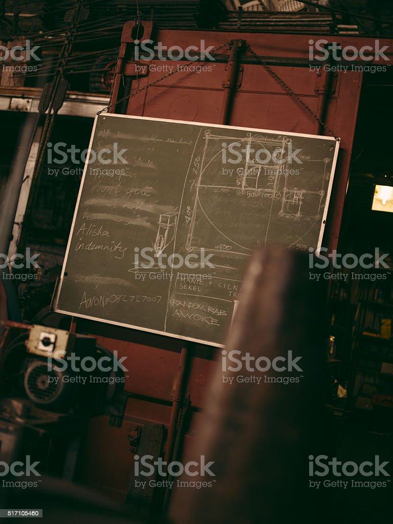 Blacksmith's blackboard in workshop stock photo