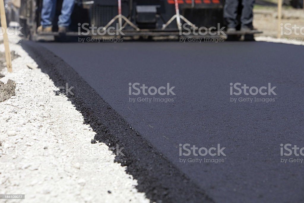 Blacktop Paving Road with Slipform Paver stock photo