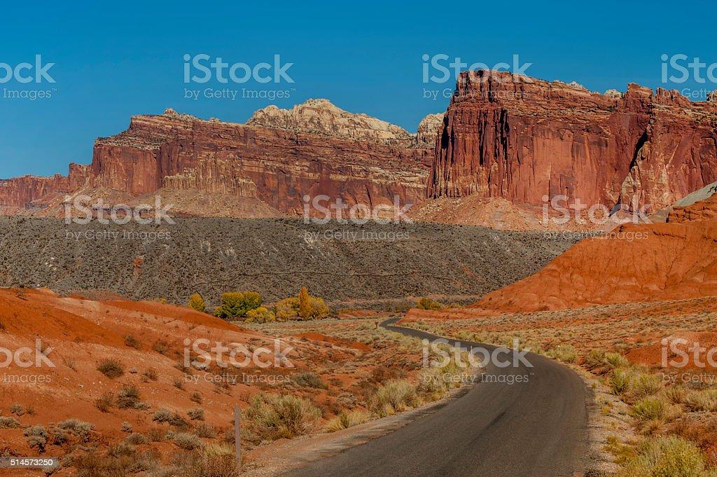 Blacktop Road and Cliffs, Zion national Park, Utah stock photo