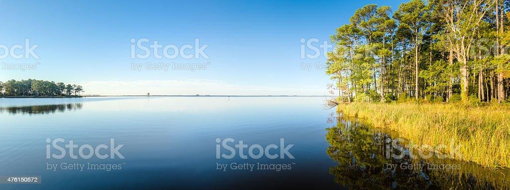 Blackwater National Wildlife Refuge - Blue Sky and Reflections stock photo