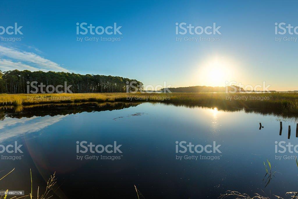 Blackwater National Wildlife Refuge Sunrise and Reflections on Water stock photo