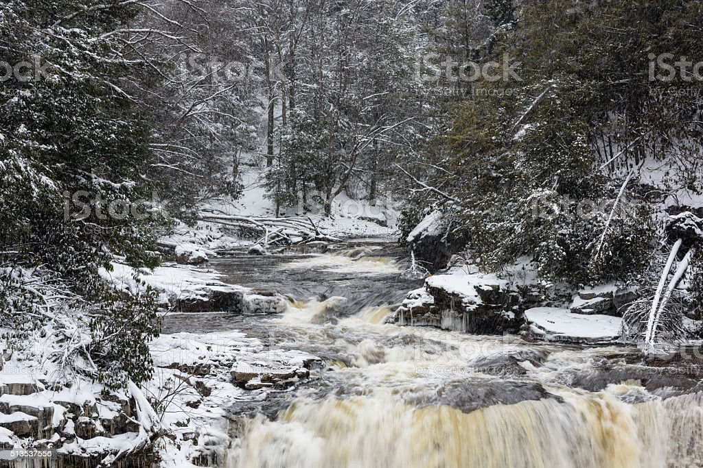 Blackwater River in West Virginia in Winter stock photo